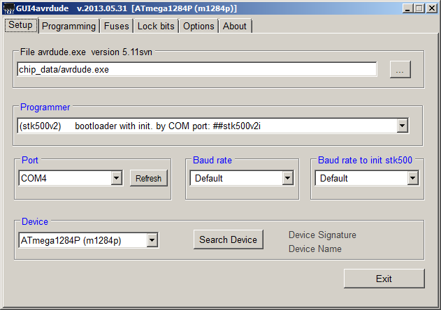 gui4avrdude setup STK500v2 with initialisation